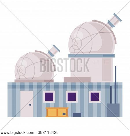 Observatory Building With Telescope In Dome, Explore And Observe Galaxy And Space Technologies Flat