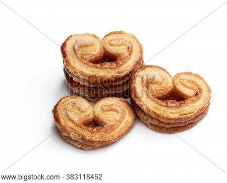 Flaky  Pastry Hearts Glazed With Caramelized Sugar Isolated On White