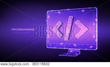 Programming Concept. Abstract Low Polygonal Computer Monitor With Programming Code Symbol. Coding Or