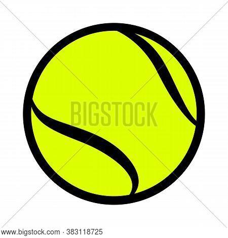 Tennis Ball Vector Illustration Isolated On White Background. Ideal For Logo Design, Sticker, Car De