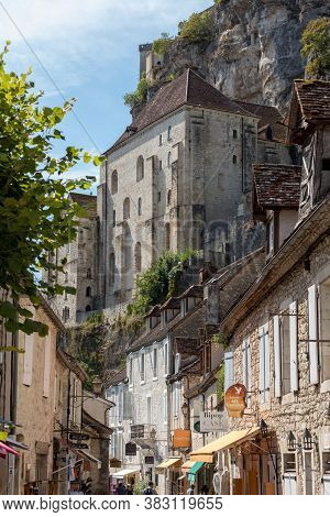 Rocamadour, France - September 3, 2018: Pilgrimage Town Of Rocamadour, Episcopal City And Sanctuary