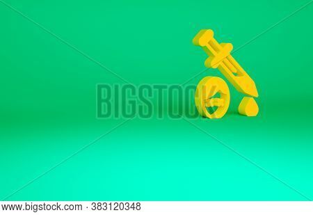 Orange Sword With Blood Icon Isolated On Green Background. Medieval Weapons Knight And Soldier. Symb