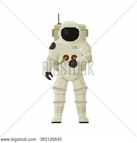 Cosmonaut Or Astronaut In Space Suit, Space, Cosmos Exploration Theme Flat Vector Illustration On Wh