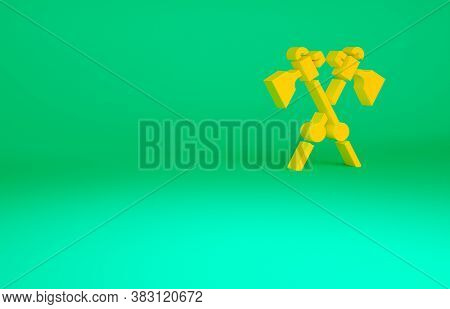 Orange Crossed Medieval Axes Icon Isolated On Green Background. Battle Axe, Executioner Axe. Medieva