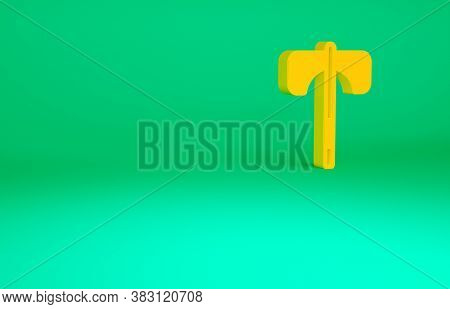 Orange Medieval Axe Icon Isolated On Green Background. Battle Axe, Executioner Axe. Medieval Weapon.