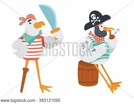 Two Funny Pirate Seagulls In Flat Vector. Wooden Peg Leg Sailor With Cutlass And Old Bird Pirate Sit