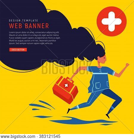 Medical Banner. Paramedic With Medical Box Run To Rescue. Doctor Runs To Save People. Flat Design