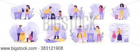 Volunteering, Ecology, Work, Recycling Set Concept. Collection Of Men Women, Children, Kids Voluntee