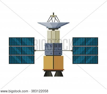 Artificial Satellite Floating, Cosmos Exploration, Space Technology Theme Flat Vector Illustration I