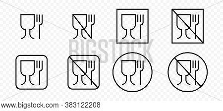Food Grade Vector Icons Set. Food Safe Material Wine Glass And Fork Symbols. Vector Illustration.