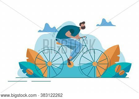 Sport, Cycling, Activity Concept. Young Happy Man Bicyclist Guy Athlete Character Riding Bike On Roa
