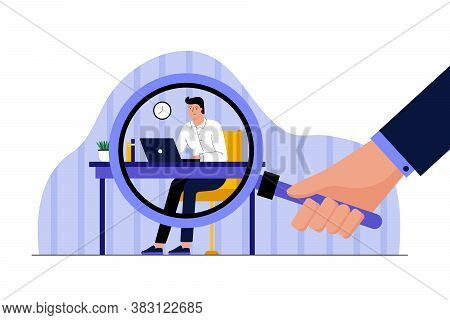 Business, Work, Observation, Privacy Concept. Human Boss Hand Holding Big Magnifying Glass Watching