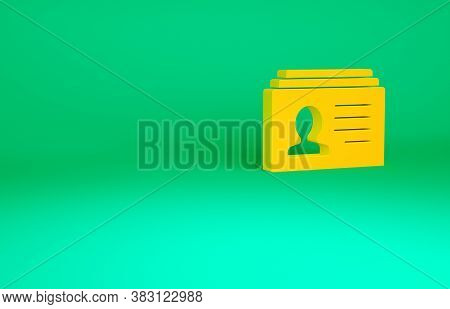 Orange Resume Icon Isolated On Green Background. Cv Application. Searching Professional Staff. Analy