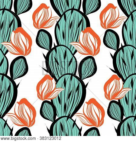 Vector Seamless Pattern With Bright Cacti Blooming Cactus Illustration