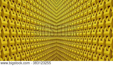 Diminishing Perspective Of A Symmetry Architectural Lines In Yellow Color