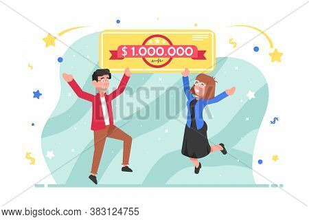 Jackpot, Success, Luck, Winning, Lottery Concept. Happy Couple In Love Man And Woman Boy And Girl Wi