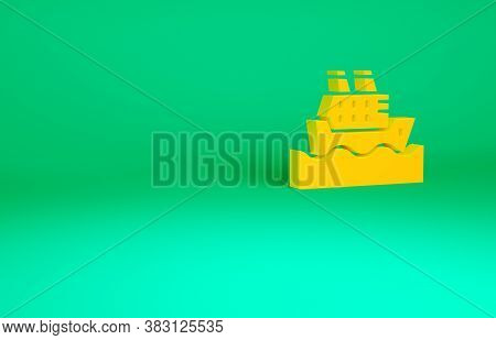 Orange Cruise Ship In Ocean Icon Isolated On Green Background. Cruising The World. Minimalism Concep
