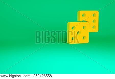 Orange Game Dice Icon Isolated On Green Background. Casino Gambling. Minimalism Concept. 3d Illustra
