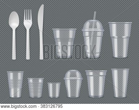 Disposable Utensils. Plastic Tableware Knives Forks Spoons Glasses Cups Vector Realistic Template. T
