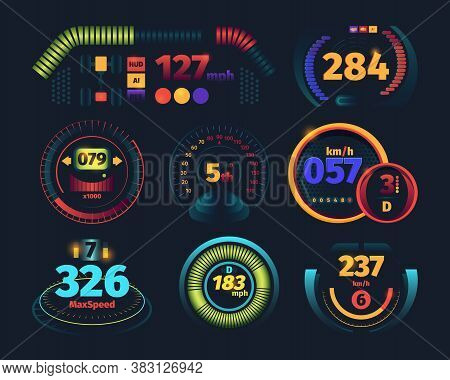 Speedometer. Engine Motor Odometer Car Dashboard With Indicators Danger Speed Arrows Vector Futurist