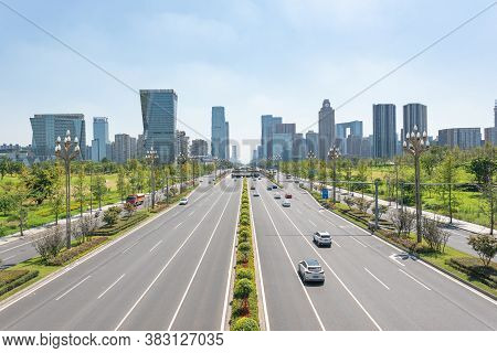 Chengdu, Sichuan Province, China - Aug 26, 2020 : Tianfu Avenue With Skyscrapers In The Background I
