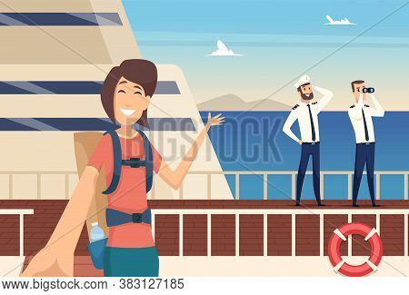 Girl Blogger On Sea Cruise. Selfie On Background Of Captain Of Ship, Water Voyage Vector Illustratio