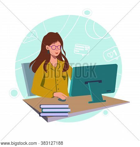 Office Worker. Businesswoman Is Sitting At The Desk And Working On The Laptop.freelancer Home Workpl