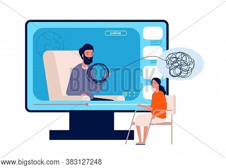 Online Psychotherapy. Psychologist Consultation, Adult Web Mental Health Conference. Woman Need Help