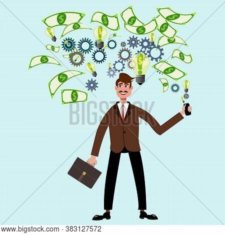 Vector Cartoon Flat Businessman Generating A Money Idea. In Mind Lamp With Idea Dollars, Works Gears
