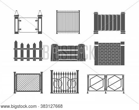 Fence Silhouettes. Fence Old Farm Wall In Village Boundary Panels For Construction Vector Set. Illus