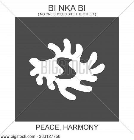 Vector Icon With African Adinkra Symbol Bi Nka Bi. Symbol Of Peace And Harmony