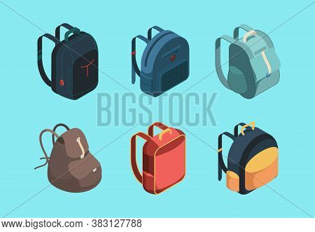 Bag Pack Isometric. Schoolbag For Kids Education Symbols Or Baggage For Travellers Vector Collection