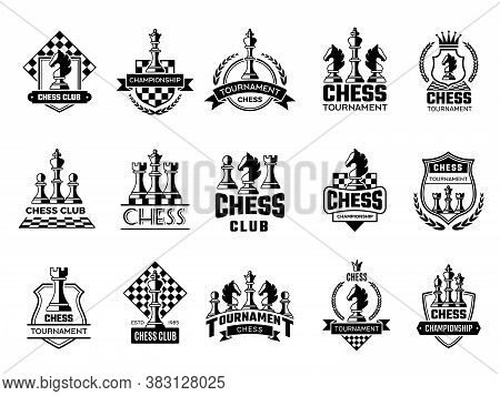 Chess Labels. Sport Stylized Silhouettes Of Chess Figures Knight Rook Pawn Vector Illustration Of Ba