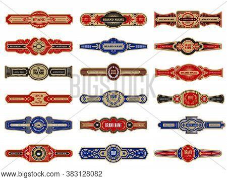 Cigar Badges. Vintage Labels Set Template For Cigars Vector Design Collection. Illustration Cigar To