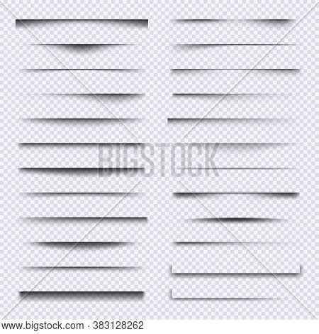 Shadow Dividers. Realistic Web Elements Frames Soft Shadows Overlay Effects Vector Set. Illustration