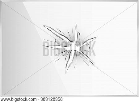 Broken Glass. Crack Plastic Screen, 3d Hole Frame. Crash Smash Window Or Ice, Shatter Mirror Vector