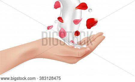 Hand Care. Female Realistic Arm, Cream Splash With Rose Flower Petals. Isolated Advertising Design E