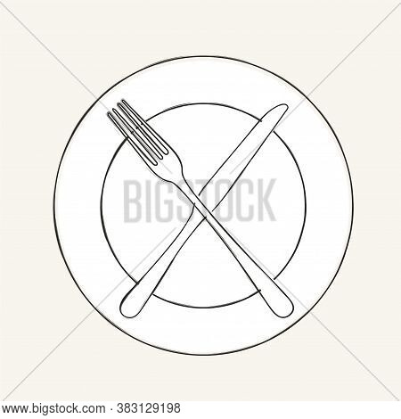 Cutlery Knife, Fork, Plate Vector Doodle Icons. Design For Menu Restaurant And Cafe. Kitchen Cutlery
