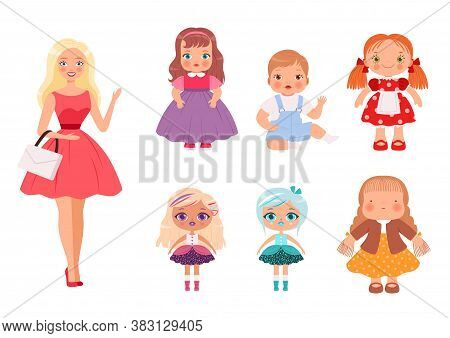 Dolls For Kids. Funny Children Toys Male And Female Cute Models For Playing Vector Illustrations. Do