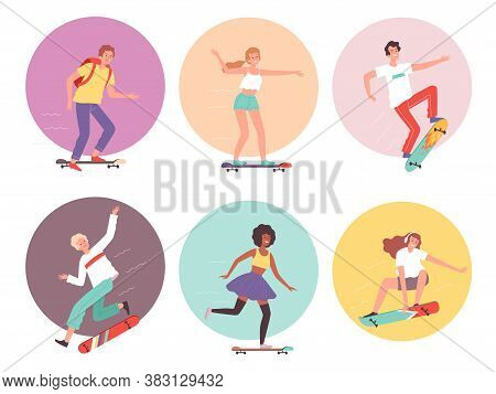 Skateboarders. Urban Activity Hipsters Characters Riders On Skateboard Cool Guys Vector Illustration