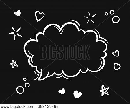 Doodle Black And White Hand Drawn Sketch Speach Bubbles. Vector Line Art Illustration,