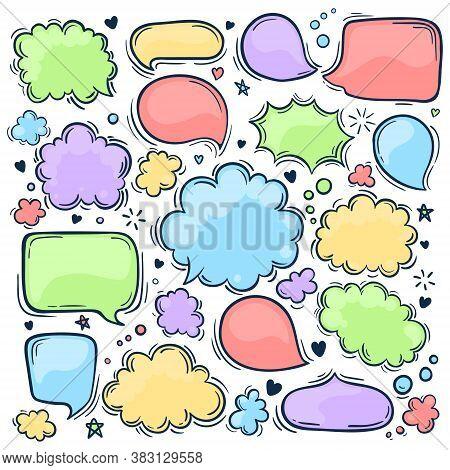 Set Of Hand Drawn Doodle Colored Speach Bubbles. Pastel Colors. Vector Illustration.