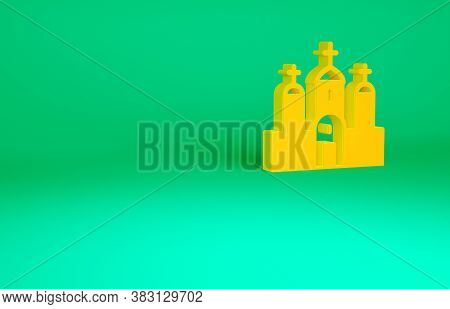 Orange Church Building Icon Isolated On Green Background. Christian Church. Religion Of Church. Mini