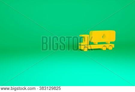 Orange Tanker Truck Icon Isolated On Green Background. Petroleum Tanker, Petrol Truck, Cistern, Oil