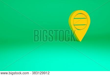 Orange Location Russia Icon Isolated On Green Background. Navigation, Pointer, Location, Map, Gps, D