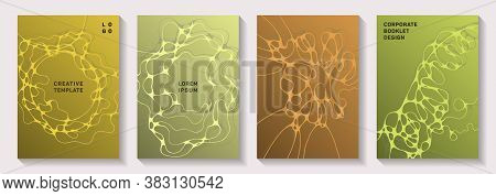 Scientific Vector Covers With Molecular Structure Or Nervous System Cells. Overlapping Waves Plexus