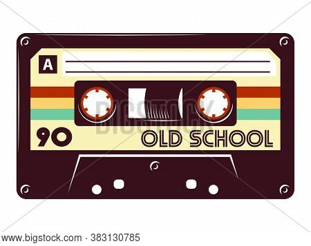 Cassette Tape Retro Vintage Mixtape Vector Illustration On Isolated White Background.