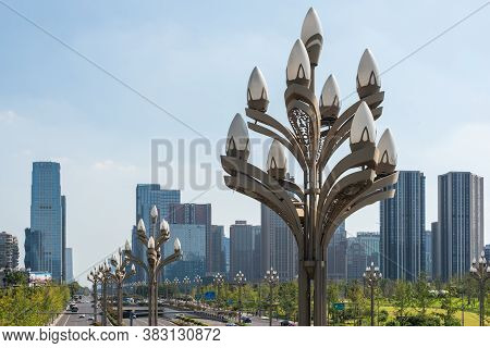 Chengdu, Sichuan Province, China - Aug 26, 2020 : Tianfu Avenue And Typical Streetlamps With Skyscra