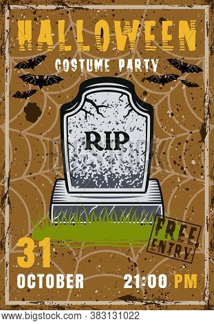 Halloween Party Vector Invitation Poster With Zombie Grave. Vintage Illustration With Grunge Texture