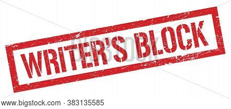 Writer's Block Red Grungy Rectangle Stamp.